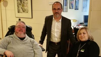 Ismael Lloréns, Carles Campuzano y Katja Villatoro en el Congreso de los Diputados